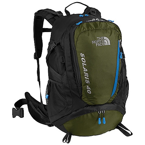 Camp and Hike Free Shipping. The North Face Solaris 40 Pack DECENT FEATURES of The North Face Solaris 40 Pack Deluxe vertical mesh channel on back panel provides cooling comfort Cushy shoulder harness is sleek and anatomical Improved, anatomically correct, load-spreading hipbelt is lined with soft tricot Improved zippered sleeping-bag-compartment access Easy-access panel-loading design increases versatility The SPECS Stays: Aluminum Frame Sheet: Yes Access: Panel, Sleeping Bag H2O Compatible: Yes Dimension: 21.75in. x 14in. x 7.5in. / 55 x 35.5 x 19 cm Average Weight: 3 lbs 2 oz / 1420 g Volume: 2450 cubic inches / 40 liter Fabric: 420D nylon, 420D mini-ripstop polyester OVERSIZE ITEM: We cannot ship this product by any expedited shipping method (3-Day, 2-Day or Next Day). Even if you pick that option, it will still go Ground Shipping. Sorry for being so mean. This product can only be shipped within the United States. Please don't hate us. - $138.95