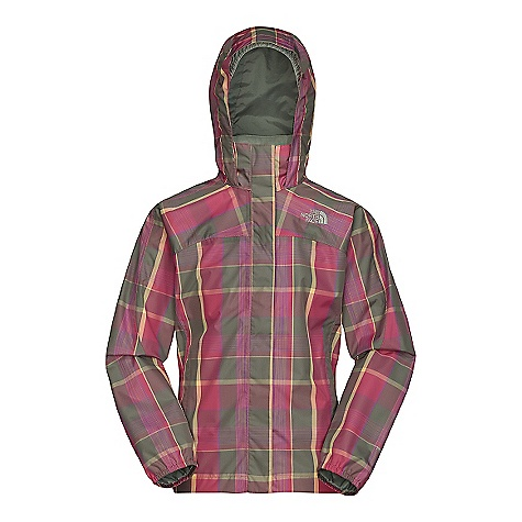 On Sale. Free Shipping. The North Face Girls' Plaid Resolve Jacket DECENT FEATURES of The North Face Girls' Plaid Resolve Jacket Waterproof, breathable, fully seam sealed Mesh lined Brushed collar lining Hood stows in collar Zip hand pockets Center front zip with Velcro closure Elasticized cuffs ID label Chin guard flap The SPECS Source: Imported Body: 75D polyester spacedye plaid, HyVent 2L Lining: 100% polyester mesh This product can only be shipped within the United States. Please don't hate us. - $47.99