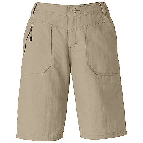 The North Face Women's Paramount Raven Short DECENT FEATURES of The North Face Women's Paramount Raven Short Durable, midweight abrasion-resistant nylon DWR finish Quick-drying Two front hand pockets Two rear pockets with button closure Security pocket Relaxed fit The SPECS Average Weight: 7 oz / 210 g Inseam: short: 5in., regular: 10in. 70D 165 g/m2 (5.82 oz/yd2) 100% nylon faille with DWR (bluesign approved fabric) This product can only be shipped within the United States. Please don't hate us. - $44.95
