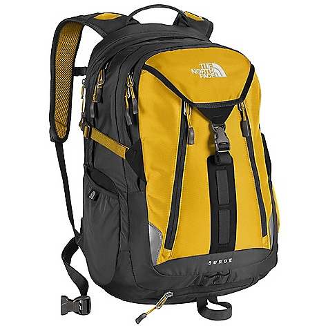 Camp and Hike Free Shipping. The North Face Surge Backpack DECENT FEATURES of The North Face Surge Backpack FlexVent injection molded shoulder straps with a top layer of Atilon foam for added support Comfortable, padded Airmesh back panel with Spine Channel and PE sheet for extra back support Padded, winged, stowable hipbelt BackSaver bottom panel Zippered, dedicated, padded laptop compartment Large main compartment Secondary compartment with organization Frontside, secure electronics organization pocket Zippered, padded bottom power cord pocket Stretch woven side water bottle pockets Safety whistle located on chest buckle Compatible with most 15in. laptops Endorsed by the American Chiropractic Association (ACA) Imported The SPECS Average Weight: 3 lbs 1 oz / 1390 g Volume: 2015 cubic inches / 33 liter Dimension: 20 x 13.5 x 9.5in. / 51 x 35 x 24 cm 420D nylon 1680D ballistics nylon This product can only be shipped within the United States. Please don't hate us. - $124.95