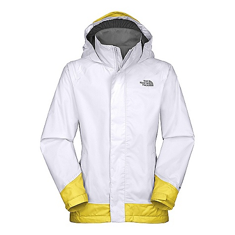 On Sale. Free Shipping. The North Face Girls' Dorado Jacket DECENT FEATURES of The North Face Girls' Dorado Jacket Waterproof, breathable, fully seam sealed Center front zip with snap closure ID label Adjustable cuff tabs Reflective dot heat transfer at lower back Brushed tricot collar and body lining Hood stows in collar Zip hand pockets The SPECS Body: HyVent 2L-100% nylon Lining: brushed poly tricot This product can only be shipped within the United States. Please don't hate us. - $54.99
