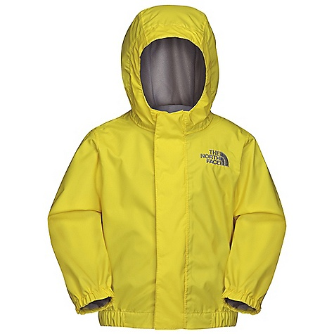 On Sale. Free Shipping. The North Face Infant Tailout Rain Jacket DECENT FEATURES of The North Face Infant Tailout Rain Jacket Waterproof, breathable, fully seam sealed Mesh-lined body Brushed collar lining Fixed hood Center front zip and Velcro closure Elasticized cuffs Chin guard flap ID label Embroidered logo at left chest Imported The SPECS Average Weight: 3.99 oz / 113 g Center Back Length: 13.375in. Body: 70D 82 g/m2 HyVent 2L-100% nylon plain weave Lining: 50D 50 g/m2 100% polyester small-hole mesh This product can only be shipped within the United States. Please don't hate us. - $34.99