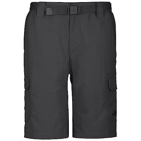 Free Shipping. The North Face Men's Paramount Cargo Short DECENT FEATURES of The North Face Men's Paramount Cargo Short Durable, midweight abrasion-resistant nylon DWR finish Quick-drying Partial elastic waist with belt loops, zip-fly and belt included Large capacity cargo pockets at side Secure-zip rear pocket Relaxed fit Zip back pocket Ultraviolet Protection Factor (UPF) 30 Gusseted crotch for increased mobility Imported The SPECS Average Weight: 10.6 oz / 300 g Inseam: regular: 10in. 70D 165 g/m2 (5.82 oz/yd2) 100% nylon woven 177 g/m2 100% nylon faille This product can only be shipped within the United States. Please don't hate us. - $49.95