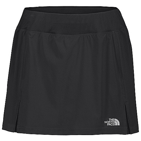 On Sale. Free Shipping. The North Face Women's Eat My Dust Sport Skirt DECENT FEATURES of The North Face Women's Eat My Dust Sport Skirt Body mapped ventilation Contoured mesh waistband Print on select colors Secure zip pocket Boy-short liner with stash pockets Reflective logos DWR coated Sanitized Silver anti-odor gusset The SPECS Average Weight: 4 oz Inseam: liner: 3in., skirt: 4in. Body: 92 g/m2 86% polyester, 14% elastane stretch woven Panels: 140 g/m2 90% polyester, 10% elastane knit mesh, 198 g/m2 100% polyester jersey Short Liner: 140 g/m2 90% polyester, 10% elastane knit mesh This product can only be shipped within the United States. Please don't hate us. - $31.99