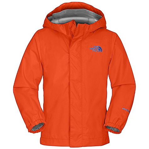 Free Shipping. The North Face Toddler Boys' Tailout Rain Jacket DECENT FEATURES of The North Face Toddler Boys' Tailout Rain Jacket Waterproof, breathable, fully seam sealed Fixed hood Mesh-lined body Center front zip and Velcro closure Elasticized cuffs Chin guard flap Embroidered logo at left chest The SPECS Average Weight: 6 oz / 170 g Center Back: 16.5in. Body: 70D 82 g/m2 100% nylon plain weave HyVent 2L (bluesign approved fabric) Lining: 50D 50 g/m2 100% polyester small-hole mesh This product can only be shipped within the United States. Please don't hate us. - $49.95