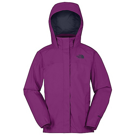 Free Shipping. The North Face Girls' Resolve Jacket DECENT FEATURES of The North Face Girls' Resolve Jacket Waterproof, breathable, fully seam sealed Mesh-lined body Brushed collar lining Hood stows in collar Zip hand warmer pockets Center front zip and Velcro closure Elasticized cuffs Chin-guard flap ID label Embroidered logo at left chest Imported The SPECS Average Weight: 12.7 oz / 360 g Center Back Length: 24in. Body: 70D 98 g/m2 HyVent 2L-100% nylon rip stop Lining: 50D 50 g 100% polyester small-hole mesh This product can only be shipped within the United States. Please don't hate us. - $64.95