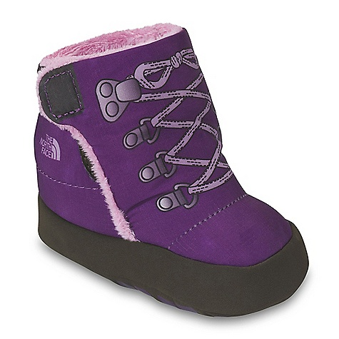On Sale. The North Face Infant Girls' NSE Bootie DECENT FEATURES of The North Face Infant Girls' NSE Bootie Upper: Durable, 100% recycled P.E.T. rip stop nylon upper 100 g Heat seeker insulation Medial and lateral Velcro tabs for easy-securing capabilities Wide instep for easy fit with ever-growing baby feet Non-irritating, plush, soft fleece inner lining for ultimate comfort Bottom: Soft, flexible and forgiving synthetic bottom allows room for fast-growing feet The SPECS Last: VI-001 Approx Weight: 1/2 pair: 1 oz / 30 g, pair: 2 oz / 60 g This product can only be shipped within the United States. Please don't hate us. - $23.99