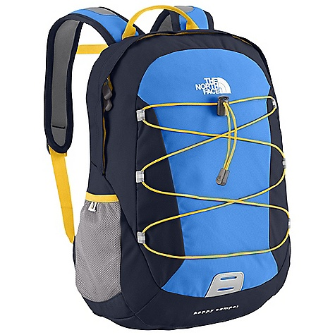 The North Face Kids' Happy Camper DECENT FEATURES of The North Face Kids' Happy Camper Youth-specific shoulder straps with easy-to-use sternum strap Large main compartment with internal mesh zippered pocket Front adjustable bungee cord Side mesh water bottle pockets Comfortable, stitched-foam back panel Reflective light loop patch The SPECS Average Weight: 12 oz / 340 g Volume: 976 cubic inches / 16 liter Dimension: 15.5 x 11 x 7.5in. / 39 x 27.5 x 19 cm 600D polyester, 1200D polyester This product can only be shipped within the United States. Please don't hate us. - $44.95