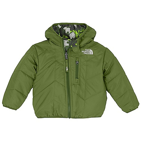 On Sale. Free Shipping. The North Face Infant Reversible Perrito Jacket DECENT FEATURES of The North Face Infant Reversible Perrito Jacket Quilted through body Reverses to print Zip Napoleon chest pocket Elastic binding at cuffs, hem and hood Embroidered logo at left chest on both sides Imported The SPECS Average Weight: 7.05 oz / 200 g Center Back Length: 13.5in. Body: 50D 76 g/m2 100% recycled polyester taffeta with DWR Reverse: 50D 80 g/m2 100% polyester taffeta with print and DWR Insulation: 120 g Heat seeker Aero This product can only be shipped within the United States. Please don't hate us. - $51.99