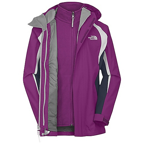 On Sale. Free Shipping. The North Face Girls' Mountain View Triclimate Jacket DECENT FEATURES of The North Face Girls' Mountain View Triclimate Jacket Waterproof, breathable, fully seam sealed Imported Fixed hood Zip-in and snap-in compatible Zippered handwarmer pockets Internal security pocket Chin guard flap Brushed collar lining Adjustable drawcord system at hem Adjustable cuff tabs with Velcro closure Key clip ID label Liner Jacket: Two handwarmer pockets The SPECS Body: HyVent 2L-100% polyester plain weave / Lining: 100% nylon taffeta This product can only be shipped within the United States. Please don't hate us. - $111.99