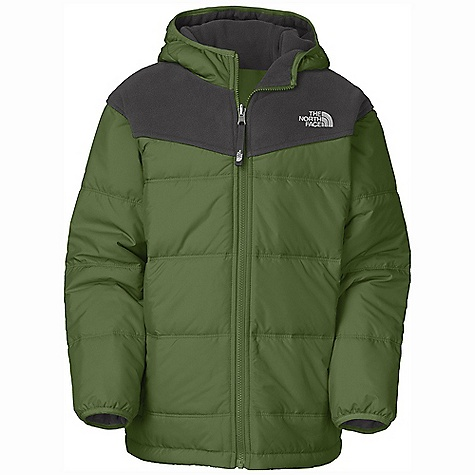 On Sale. Free Shipping. The North Face Boys' Reversible True Or False Jacket DECENT FEATURES of The North Face Boys' Reversible True Or False Jacket Fixed hood Welt hand pockets on quilted nylon side Welt hand pockets on fleece side Elastic binding at cuffs Embroidered logo at left chest on both sides The SPECS Average Weight: 25.6 oz / 726 g Center Back Length: 24in. Body: 160 g/m2 100% polyester Polartec Classic Micro fleece Reverse: 50D 76 g/m2 100% recycled polyester taffeta with DWR Insulation: 150 g Heatseeker Aero This product can only be shipped within the United States. Please don't hate us. - $63.99