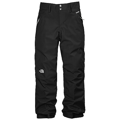 Free Shipping. The North Face Girls' Derby Insulated Pant DECENT FEATURES of The North Face Girls' Derby Insulated Pant Waterproof, breathable, fully seam sealed Zip hand warmer pockets Articulated knees Lift-ticket loop at waist Key clip Zip-fly Half elastic waistband with adjustable Velcro tabs and snap front closure Belt loops Gaiter with gripper elastic Reinforced hem edges at ankle Grow cuffs at leg opening Embroidered logo at knee The SPECS Average Weight: 16.58 oz / 470 g Inseam: Grown: 23in., 25in. Body: 75D 105 g/m2 HyVent 2L-polyester Lining: 40D 70 g/m2 100% nylon taffeta Insulation: 60 g Heat seeker Aero This product can only be shipped within the United States. Please don't hate us. - $98.95