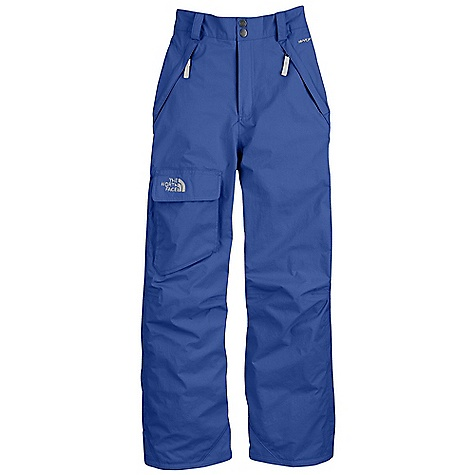 On Sale. Free Shipping. The North Face Boys' Freedom Insulated Pant DECENT FEATURES of The North Face Boys' Freedom Insulated Pant Waterproof, breathable, fully seam sealed Cargo pocket with Velcro flap closure Zip hand warmer pockets Articulated knees Lift-ticket loop at waist Key clip Zip-fly Half-elastic waistband with adjustable Velcro tabs and snap front closure Belt loops Gaiter with gripper elastic Reinforced kick patch at hem Boot clip at front of leg Grow cuffs at leg opening extend the pant length up to 2in. Embroidered logo at cargo pocket Imported The SPECS Average Weight: 17.28 oz / 490 g Inseam: Grown: 23in., 25in. Body (solid): 70D x 160D 128 g/m2 Hyvent 2L-100% nylon faille weave (blue sign approved fabric) Body (Printed): 75D 105 g/m2 HyVent 2L-100% polyester printed plain weave Lining: 40D 70 g/m2 100% nylon taffeta Insulation: 60 g Heat seeker Aero This product can only be shipped within the United States. Please don't hate us. - $76.99