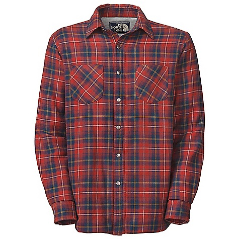 On Sale. Free Shipping. The North Face Men's Trapper Flannel Jacket DECENT FEATURES of The North Face Men's Trapper Flannel Jacket Quilted body Snap button cuff Vintage metal snap closure at center front placket and cuffs Faux wood button at collar stand Herringbone tape inside placket Logo patch at inside placket Polyester at sleeves and shoulder insets Side-seam hand pockets Imported The SPECS Average Weight: 22 oz / 620 g Center Back Length: 29.875in. Body: 180 g/m2 100% cotton yarn-dyed flannel Finish: Enzyme washed Body Lining: 180 g/m2 55% cotton, 45% polyester heathered jersey Sleeve Lining: 50D 76 g/m2 100% recycled polyester taffeta Insulation: 60 g Heatseeker This product can only be shipped within the United States. Please don't hate us. - $70.99