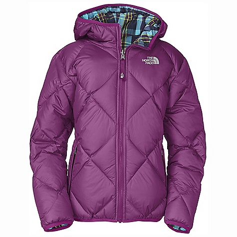 On Sale. Free Shipping. The North Face Girls' Reversible Down Moondoggy Jacket DECENT FEATURES of The North Face Girls' Reversible Down Moondoggy Jacket Quilting through body Reverses to plaid body Zip-in and snap-in compatible Welted zip hand pockets on solid side Welted hand warmer pockets on plaid side Elastic binding at cuffs, hood and hem Embroidered logo at left chest on both sides Imported The SPECS Average Weight: 18.2 oz / 516 g Center Back Length: 22.5in. Body: 40D 56 g/m2 100% nylon taffeta with DWR Lining: 45D x 50D 66 g/m2 57% nylon, 43% polyester yarn-dyed plaid Insulation: 550 fill down This product can only be shipped within the United States. Please don't hate us. - $103.99