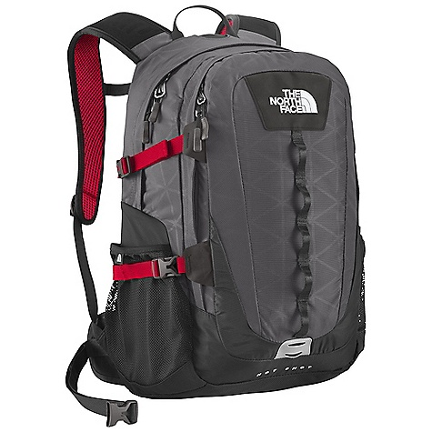 On Sale. Free Shipping. The North Face Hot Shot DECENT FEATURES of The North Face Hot Shot FlexVent injection-molded shoulder straps with additional PE foam for added comfort Comfortable, padded air-mesh back panel with Spine Channel and PE sheet for extra back support Integrated reflective light loop Winged, stowable hipbelt Large main compartment with variable-sized laptop sleeve, organization and hydration port Secondary compartment with organization Mesh side water bottle pockets The SPECS Average Weight: 2 lbs 8 oz / 1135 g Volume: 1587 cubic inches / 26 liter Laptop Sleeve: 14.75 x 10 x 1.75in. / 37.5 x 25.5 x 4.5 cm Dimension: 20 x 12.5 x 8in. / 51 x 32 x 20 cm 420D nylon, 600D polyester print, 1680D ballistics nylon This product can only be shipped within the United States. Please don't hate us. - $78.99