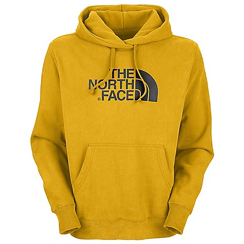 The North Face Men's Half Dome Hoodie DECENT FEATURES of The North Face Men's Half Dome Hoodie Soft, comfortable, easy-care fabric Double-layered hood with drawcord Screen-printed logo at chest Kangaroo hand pocket 1x1 rib at cuffs and hem The SPECS Average Weight: 25 oz / 700 g Center Back Length: 27.25in. 280 g/m2 80% cotton 20% polyester fleece This product can only be shipped within the United States. Please don't hate us. - $44.95