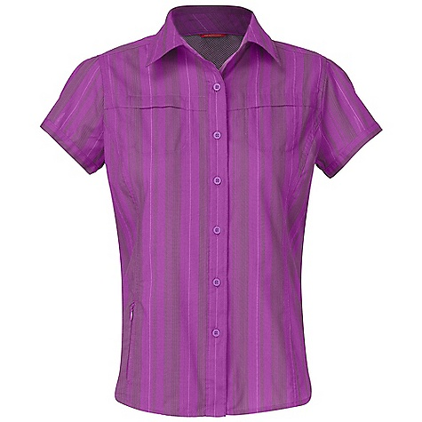 On Sale. Free Shipping. The North Face Women's Hayes Burst SS Woven Shirt DECENT FEATURES of The North Face Women's Hayes Burst Short Sleeve Shirt Woven Shirt 3M reflective yarn provides 500 candlepower reflectivity, the highest commercially available Ultraviolet protection factor (UPF) 50 Sun collar stand Secure side zip pocket Ventilation at back for increased airflo with mobility Two chest pockets with envelope closure Recycled rubber buttons The SPECS Average Weight: 7.1 oz / 200 g Center Back Length: 26in. 106 g/m2 58% cotton 42% polyester 1% 3M reflective nylon This product can only be shipped within the United States. Please don't hate us. - $44.99
