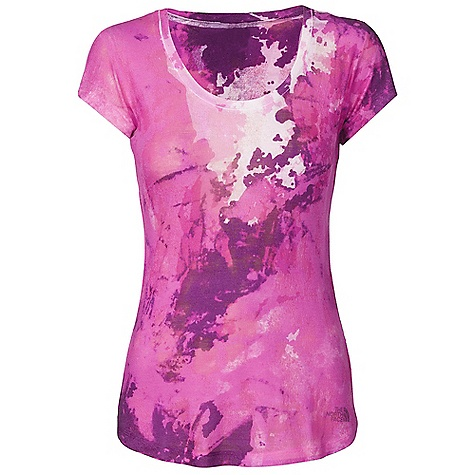 On Sale. The North Face Women's Tadasana Sunrise Tee DECENT FEATURES of The North Face Women's Tadasana Sunrise Tee Regular fit Textured burn-out Drop hem Sublimation print Shaped hem Imported The SPECS Center Back Length: 26in. 145 g/m2 50% cotton, 50% polyester wash burn-out knit This product can only be shipped within the United States. Please don't hate us. - $28.99