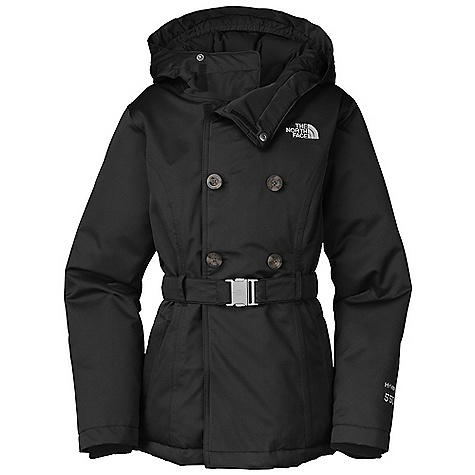 On Sale. Free Shipping. The North Face Girls' Hilaree Down Peacoat DECENT FEATURES of The North Face Girls' Hilaree Down Peacoat Waterproof, breathable, fully seam sealed Double breasted Fixed insulated hood Zip hand warmer pockets Internal media pocket Fixed encased elastic belt with logo buckle Faux tortoise-shell buttons Inset fleece cuffs Key clip ID label Embroidered logo at left chest and back right shoulder The SPECS Average Weight: 23.4 oz / 640 g Center Back Length: 23.5in. Body: 150D 164 g/m2 HyVent 2L-100% polyester herringbone Lining: 50D 76 g/m2 100% recycled polyester with WR Insulation: 550 fill down This product can only be shipped within the United States. Please don't hate us. - $158.99