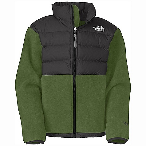 On Sale. Free Shipping. The North Face Boys' Denali Down Jacket DECENT FEATURES of The North Face Boys' Denali Down Jacket Zip-in and snap-in compatible 550 fill down at chest and shoulders Zip hand pockets Elastic binding at cuffs Encased elastic hem ID label Embroidered logo at left chest and back right shoulder The SPECS Average Weight: 14.7 oz / 418 g Center Back Length: 22.5in. Body: 330 g/m2 100% recycled polyester fleece with DWR Chest and Shoulder Abrasion: 50D 76 g/m2 100% recycled polyester taffeta with DWR Insulation: 550 fill down This product can only be shipped within the United States. Please don't hate us. - $89.99