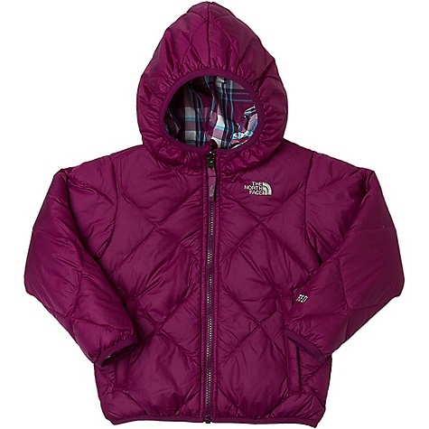 On Sale. Free Shipping. The North Face Toddler Girls' Reversible Down Moondoggy Jacket DECENT FEATURES of The North Face Toddler Girls' Reversible Down Moondoggy Jacket Quilting through body Reverses to plaid body Welted zip hand warmer pockets on solid side Welted hand pockets on plaid side Elastic binding at cuffs, hood and hem Embroidered logo at left chest on both sides Imported The SPECS Average Weight: 11.99 oz / 340 g Center Back Length: 16in. Body: 40D 56 g/m2 100% nylon taffeta with DWR Lining: 45D x 50D 60 g/m2 57% nylon, 43% polyester yard-dyed plaid Insulation: 550 fill down This product can only be shipped within the United States. Please don't hate us. - $73.99