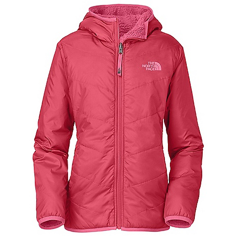 Free Shipping. The North Face Girls' Reversible Perseus Jacket DECENT FEATURES of The North Face Girls' Reversible Perseus Jacket Curved chevron quilt lines through body Fixed hood Zip hand pockets Binding at hood, cuffs and hem Welt hand pockets Embroidered logo at left chest and back right shoulder The SPECS Average Weight: 14.7 oz / 418 g Center Back Length: 22.5in. Body: 40D 70 g/m2 100% nylon taffeta with DWR Lining: 300 g/m2 100% polyester Sherpa fleece Insulation: 60 g Heatseeker Aero This product can only be shipped within the United States. Please don't hate us. - $98.95