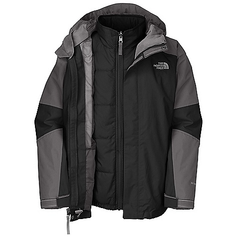 On Sale. Free Shipping. The North Face Boys' Traece Triclimate Jacket DECENT FEATURES of The North Face Boys' Traece Triclimate Jacket (Outer shell) Waterproof, breathable, fully seam sealed Fixed hood Zip-in compatible Zip hand warmer pockets Internal media pocket Key clip Glove clip Powder skirt Oversized chin flap placket Adjustable draw cord system at hem Adjustable cuff tabs with Velcro closure Goggle cloth System map on interior of garment outlines jacket features ID label Embroidered logo at left chest and back right shoulder (Liner jacket) Welted hand warmer pockets Imported The SPECS Average Weight: 29.57 oz / 838 g Center Back Length: 23.5in. (Outer Jacket) Body: 70D x 160D 128 g/m2 HyVent 2L-100% nylon faille weave (blue sign approved fabric) Lining: 40D 70 g/m2 100% nylon taffeta (Liner Jacket) Body: 70D 87 g/m2 100% nylon rip stop Insulation: 160 g Heat seeker Aero This product can only be shipped within the United States. Please don't hate us. - $118.99