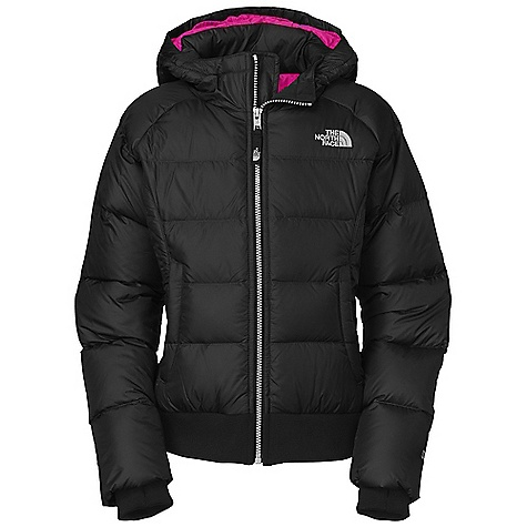On Sale. Free Shipping. The North Face Girls' Jasmine Down Jacket DECENT FEATURES of The North Face Girls' Jasmine Down Jacket Quilting through body and at side panels Fixed insulated hood Inset rib at cuffs and hem Zip hand warmer pockets Key clip ID label Embroidered logo at left chest and back right shoulder The SPECS Average Weight: 19.4 oz / 550 g Center Back Length: 20in. Body: 30D 53 g/m2 100% nylon taffeta Lining: 70D 63 g/m2 100% nylon taffeta Insulation: 550 fill down This product can only be shipped within the United States. Please don't hate us. - $135.99