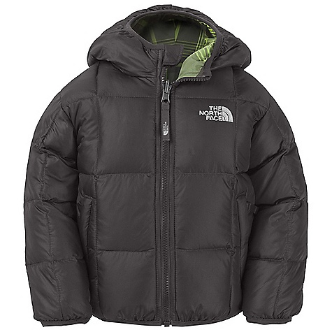On Sale. Free Shipping. The North Face Toddler Boys' Reversible Down Moondoggy Jacket DECENT FEATURES of The North Face Toddler Boys' Reversible Down Moondoggy Jacket Quilting through body Reverses to plaid body Welted zip hand pockets on solid side Welted hand pockets on plaid side Elastic binding at cuffs, hood and hem Embroidered logo at left chest on both sides and back right shoulder Imported The SPECS Average Weight: 12.35 oz / 350 g Center Back Length: 15in. Body: 50D 65 g/m2 100% nylon taffeta with DWR Lining: 45D x 50D 66 g/m2 57% nylon, 43% polyester yarn-dyed plaid Insulation: 550 fill down This product can only be shipped within the United States. Please don't hate us. - $73.99
