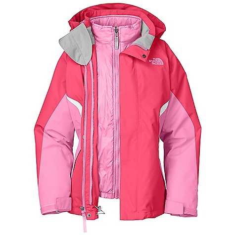 On Sale. Free Shipping. The North Face Girls' Boundary Triclimate Jacket DECENT FEATURES of The North Face Girls' Boundary Triclimate Jacket Waterproof, breathable, fully seam sealed Removable hood Zip-in and snap-in compatible Zip hand warmer pockets Internal media pocket Key clip Glove clip Powder skirt Goggle cloth Adjustable draw cord system at hem Adjustable cuff tabs with Velcro closure System map on interior of garment outlines jacket features ID label Embroidered logo at left chest Imported The SPECS Average Weight: 33.87 oz / 960 g Center Back Length: 23.5in. Outer Jacket: Body: 75D 110 g/m2 Hyvent 2L-100% polyester plain weave Lining: 40D 70 g/m2 100% nylon taffeta Liner Jacket: Body: 100% polyester taffeta Insulation: 160 g Heat seeker Aero This product can only be shipped within the United States. Please don't hate us. - $117.99