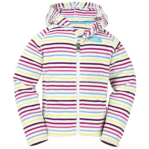 On Sale. The North Face Toddler Girls' Striped Glacier Full Zip Hoodie DECENT FEATURES of The North Face Toddler Girls' Striped Glacier Full Zip Hoodie Extremely durable, pill-resistant surface Lightweight warmth Kangaroo hand warmer pockets Embroidered logo at left chest The SPECS Average Weight: 4.23 oz / 120 g Center Back Length: 15in. 214 g/m2 100% polyester printed fleece This product can only be shipped within the United States. Please don't hate us. - $21.99