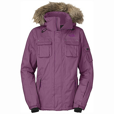 On Sale. Free Shipping. The North Face Women's Baker Delux Jacket DECENT FEATURES of The North Face Women's Baker Delux Jacket Adjustable EZD-tach hood with removable faux fur Pit-zip vents Hand warmer zip pockets Dual chest pockets Bicep and wrist accessory pocket with goggle cloth Internal media security pocket Internal goggle pocket Internal Lycra wristies Hook-and-loop adjustable cuffs Removable snap-back powder skirt with gripper elastic Adjustable hem system Imported The SPECS Average Weight: 36.13 oz / 1024 g Center Back Length: 28.5in. Shell: Hyvent 2L cross-dyed herringbone Lining: Center back panel is satin quilted and balance is taffeta Insulation: 100 g/80 g Heatseeker, delux trim package: Pullers, logo badge This product can only be shipped within the United States. Please don't hate us. - $238.99