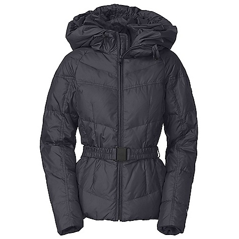 On Sale. Free Shipping. The North Face Women's Collar Back Down Jacket DECENT FEATURES of The North Face Women's Collar Back Down Jacket Oversize shawl hood with self fabric drawstring Center front zip closure with corded piping Elastic belt with click-in buckle and belt security tab Internal media pocket with cord guide Hidden zip hand pockets Hidden stretch cuffs Metal logo rivet at left bicep Embroidered logo at back right shoulder The SPECS Average Weight: 35.3 oz / 1000 g Center Back Length: 26in. Body: 50D 70 g/m2 100% polyester with DWR Lining: 33D 46 g/m2 100% nylon taffeta Insulation: 550 fill down This product can only be shipped within the United States. Please don't hate us. - $181.99