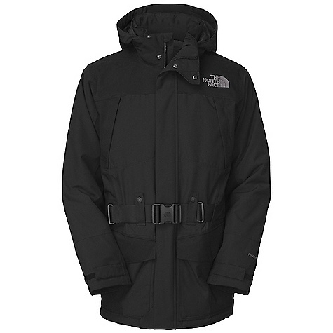 On Sale. Free Shipping. The North Face Men's Taranis Down Jacket DECENT FEATURES of The North Face Men's Taranis Down Jacket Waterproof, breathable, fully seam sealed Removable, adjustable hood Zippered chest pockets Snap flap front pockets Nylon webbing belt with buckle closure Adjustable Velcro cuffs Internal security pocket Tonal embroidered logo at left chest and back right shoulder The SPECS Average Weight: 42.3 oz / 1200 g Center Back Length: 33in. Body: 150D 195 g/m2 HyVent 2L-80% polyester, 20% cotton faille weave (bluesign approved fabric) blocked with 220D 249 g/m2 HyVent 2L-100% nylon oxford Insulation: 550 fill down This product can only be shipped within the United States. Please don't hate us. - $250.99