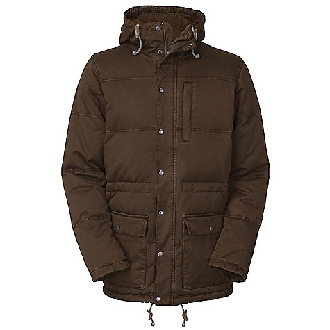 On Sale. Free Shipping. The North Face Men's Tasman Down Parka DECENT FEATURES of The North Face Men's Tasman Down Parka Quilted body Fixed hood Zippered Napoleon pocket Adjustable drawcord system at hood, waist and hem Center front placket with zip and snap closure Double-entry hand pockets Imported The SPECS Average Weight: 95.2 oz / 2700 g Center Back Length: 33in. Body: 300 g/m2 100% cotton peached twill Finish: Pigment dyed, enzyme wash, DWR Insulation: 550 fill down This product can only be shipped within the United States. Please don't hate us. - $208.99