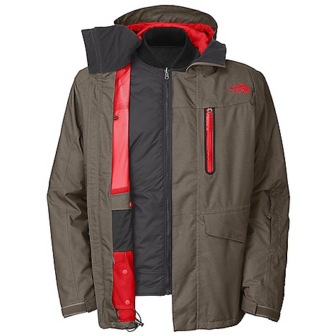 On Sale. Free Shipping. The North Face Men's Houser Triclimate Jacket DECENT FEATURES of The North Face Men's Houser Triclimate Jacket Adjustable fixed hood Core zip-vents PU zip chest pocket Dual-entry flap and zip handwarmer pockets External media pocket Internal goggle pocket Snap-away powder skirt with gripper elastic Adjustable hem system Wrist accessory pocket with goggle cloth Hook-and-loop adjustable cuffs (Tricimate) Snap-in: reversible Snap hand pockets Reverse: Center front zip closure with center front placket with snaps Imported The SPECS Average Weight: 45.86 oz / 1300 g Center Back Length: shell: 30.25in., liner: 26.75in. Shell: HyVent 2L in.Mad Menin. heather Lining: Taffeta, mesh Liner: Mini-ripstop, reversible flight jacket Insulation: 100 g Heatseeker This product can only be shipped within the United States. Please don't hate us. - $261.99