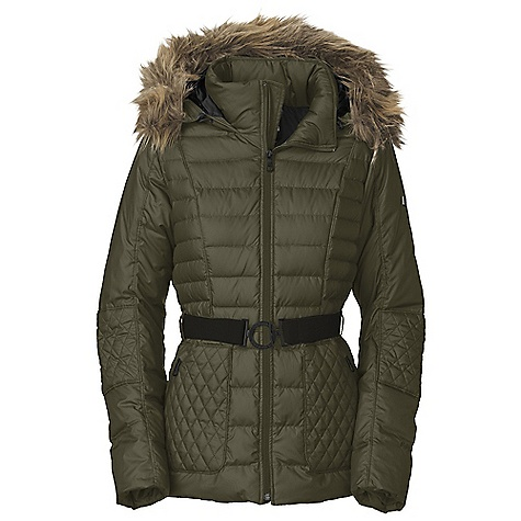 On Sale. Free Shipping. The North Face Women's Parkina Down Jacket DECENT FEATURES of The North Face Women's Parkina Down Jacket Detachable faux fur at fixed, adjustable drop hood Hood adjustment tab Stand-up collar Variegated and mixed quilting throughout body Internal media pocket with cord guide Elastic belt with metal logo buckle and security belt tab Internal stretch cuffs Zip hand pockets Metal logo rivet at left bicep Embroidered logo at back right shoulder The SPECS Average Weight: 30.1 oz / 852 g Center Back Length: 27in. Body: 30D x 70D 80 g/m2 100% polyester twill Lining: 40D 75 g/m2 100% nylon satin twill Insulation: 600 fill water-resistant down This product can only be shipped within the United States. Please don't hate us. - $239.99