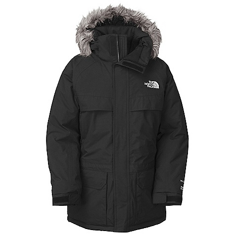 Free Shipping. The North Face Boys' McMurdo Parka DECENT FEATURES of The North Face Boys' McMurdo Parka Waterproof, breathable, fully seam sealed Insulated hood with removable faux fur trim Two hand warmer pockets Dual-entry-compartment hand pockets Two upper-exterior slash pockets Brushed collar lining Internal security pocket Adjustable draw cord at hem and waist Adjustable cuff tabs with Velcro closure ID label Embroidered logo at left chest and back right shoulder Imported The SPECS Average Weight: 47.2 oz / 1338 g Center Back Length: 26.5in. Body: 70D x 160D 128 g/m2 HyVent 2L-100% nylon faille weave (blue sign approved fabric) Lining: 70D 63 g/m2 100% nylon taffeta Insulation: 550 fill down This product can only be shipped within the United States. Please don't hate us. - $229.95