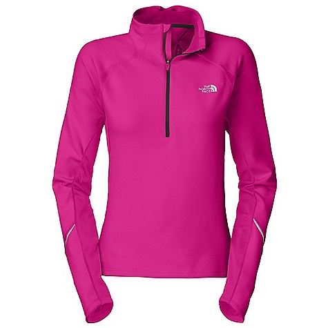 On Sale. Free Shipping. The North Face Women's Momentum 1-2 Zip DECENT FEATURES of The North Face Women's Momentum 1/2 Zip Layered venting system Textured thermal paneling Reflective piping Inner mitts Reflective logos Center back zip pocket The SPECS Average Weight: 10.2 oz Center Back Length: 24.5in. 265 g/m2 93% polyester 7% elastane knit fleece Panel: 165 g/m2 100% polyester This product can only be shipped within the United States. Please don't hate us. - $63.99