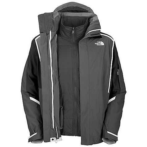 On Sale. Free Shipping. The North Face Men's Cornice Triclimate Jacket DECENT FEATURES of The North Face Men's Cornice Triclimate Jacket Waterproof, breathable, fully seam sealed Fixed hood Handwarmer zip pockets Bicep accessory pocket with goggle cloth Internal goggle pocket Powder skirt Adjustable hem system Adjustable cuff tabs (Tricimate) Zip-in Hand pockets Imported The SPECS Average Weight: 45 oz / 1275 g Center Back Length: 31in. Shell: 210D x 320D 162 g/m2 HyVent 2L proweave nylon faille Liner: 40D 59 g/m2 nylon Insulation: 80 g Heatseeker This product can only be shipped within the United States. Please don't hate us. - $180.99