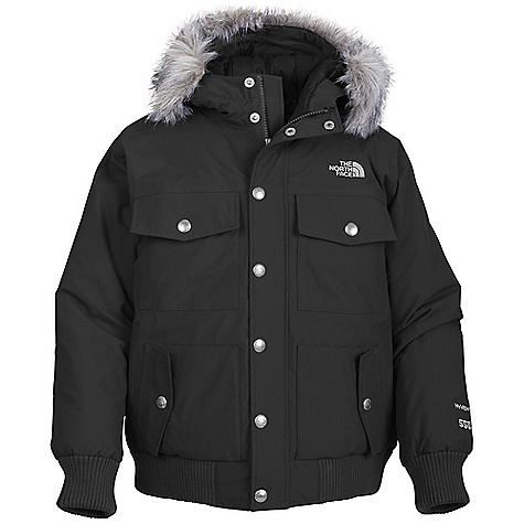 Free Shipping. The North Face Boys' Gotham Jacket DECENT FEATURES of The North Face Boys' Gotham Jacket Waterproof, breathable, fully seam sealed Insulated hood with removable faux fur trim Two chest pockets with snap closure Two hand warmer pockets with snap flap closure Internal media pocket Brushed collar lining Internal security pocket Fleece inner cuffs Adjustable draw cord at hem and waist Adjustable cuff tabs with Velcro closure ID label Embroidered logo at left chest and back right shoulder Imported The SPECS Average Weight: 35.52 oz / 1007 g Center Back Length: 23in. 70D x 160D 128 g/m2 HyVent 2L-100% nylon faille weave (blue sign approved fabric) Lining: 70D 63 g/m2 100% nylon taffeta Insulation: 550 fill down This product can only be shipped within the United States. Please don't hate us. - $219.95