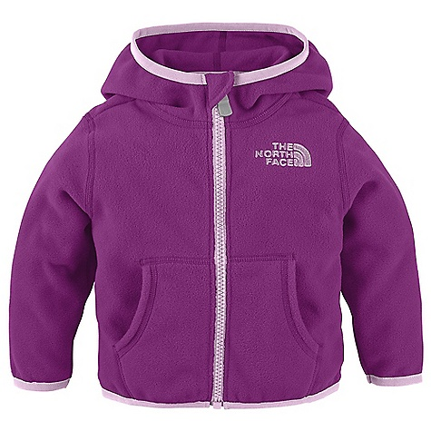 On Sale. The North Face Infant Glacier Full Zip Hoodie DECENT FEATURES of The North Face Infant Glacier Full Zip Hoodie Extremely durable, pill-resistant surface Lightweight warmth Contrast-color center front zip on select color ways Kangaroo hand warmer pockets Embroidered logo at left chest The SPECS Average Weight: 3.58 oz / 100 g Center Back Length: 12in. 160 g/m2 100% polyester Polar Tec Classic Micro fleece (blue sign approved fabric) This product can only be shipped within the United States. Please don't hate us. - $27.99