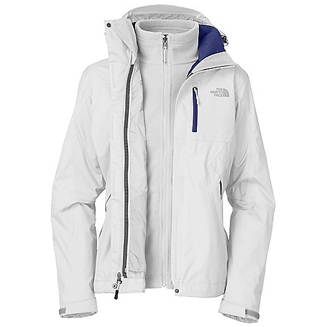 On Sale. Free Shipping. The North Face Women's Adele Triclimate Jacket DECENT FEATURES of The North Face Women's Adele Triclimate Jacket Waterproof, breathable, seam sealed Zip-in compatible integration with complementing garments for The North Face Fully adjustable, removable hood Brushed collar lining for comfort Center front zip with storm flap Pit-zip vents Chest pocket Two secure zip hand pockets Self fabric cuff tabs Hem cinch-cord (Triclimate) 200 weight textured fleece Two secure zip hand pockets Imported The SPECS Average Weight: 40.57 oz / 1150 g Center Back Length: 27in. Body: 70D 133 g/m2 (3.857 oz/yd2) 100% nylon Hyvent 2L Insulation: 200 g textured fleece This product can only be shipped within the United States. Please don't hate us. - $155.99