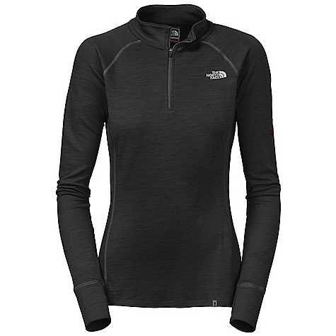 Free Shipping. The North Face Women's Warm Merino L-S Zip Neck DECENT FEATURES of The North Face Women's Warm Merino Long Sleeve Zip Neck Mock neck Half front zip Flat-locked seams Logo print Drop-tail hem Imported The SPECS Average Weight: 6.7 oz / 190 g Center Back Length: 25.5in. 180 g/m2 33% merino wool, 38% polyolefin, 29% polyester double knit with FlashDry This product can only be shipped within the United States. Please don't hate us. - $89.95