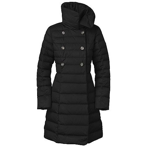On Sale. Free Shipping. The North Face Women's Paulette Peacoat DECENT FEATURES of The North Face Women's Paulette Peacoat Empire waist Oversized, stylized collar with hidden magnets (falls wide when open) Double-breasted front magnet and zippered closure with decorative buttons Variegated quilting Kissing welt hand pockets Rolled hem and collar Internal media pocket Metal logo rivet on left sleeve Tonal embroidered logo at back right shoulder The SPECS Average Weight: 33.5 oz / 950 g Center Back Length: 36in. Body: 30D x 55D 65 g/m2 100% polyester taffeta with DWR Lining: 50D 76 g/m2 100% recycled polyester taffeta Insulation: 550 fill down This product can only be shipped within the United States. Please don't hate us. - $243.99