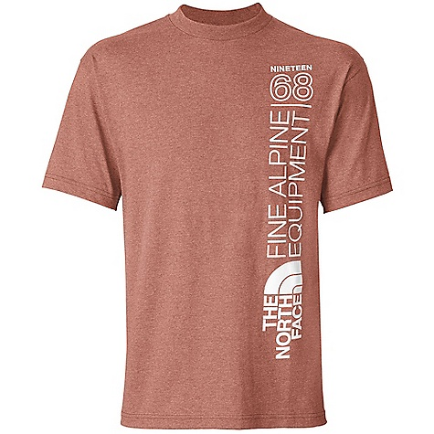 The North Face Men's S-S 68 Alpines Tee DECENT FEATURES of The North Face Men's Short Sleeve 68 Alpines Tee Comfortable, lightweight, easy-care fabric Screen-printed graphic at left side 1x1 rib at collar The SPECS Average Weight: 7.2 oz / 204 g Center Back Length: 28.5in. 180 g/m2 50% cotton, 50% polyester jersey This product can only be shipped within the United States. Please don't hate us. - $25.00
