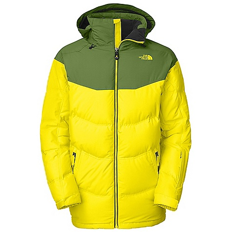 Free Shipping. The North Face Men's Knuckle Down Jacket DECENT FEATURES of The North Face Men's Knuckle Down Jacket Adjustable drop hood Pit-zip vents Hand pockets Internal media pocket Wrist accessory pocket with goggle cloth Internal goggle pocket Snap-down powder skirt with elastic gripper Hook-and-loop adjustable cuffs Adjustable hem system The SPECS Average Weight: 47.62 oz / 1350 g Center Back Length: 33.25in. Shell: HyVent 2L softfaille Lining: Taffeta Insulation: 550 fill down This product can only be shipped within the United States. Please don't hate us. - $349.00