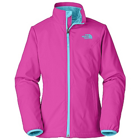 Free Shipping. The North Face Girls' Mossbud Softshell Jacket DECENT FEATURES of The North Face Girls' Mossbud Softshell Jacket Zippered hand pockets Cozy high loft fleece drop lining Brushed collar lining ID label Embroidered logo at left chest and back right shoulder The SPECS Average Weight: 14.82 oz / 420 g Center Back Length: 21.75in. Body: 165 g/m2 94% polyester, 6% elastane four-way stretch TNF Apex Aerobic double weave Lining: 230 g/m2 100% polyester Silken high-pile Mossbud fleece This product can only be shipped within the United States. Please don't hate us. - $84.95