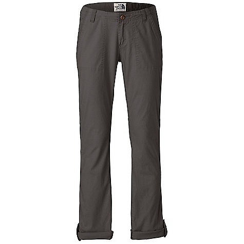 Free Shipping. The North Face Women's Pinecrest Roll-Up Pant DECENT FEATURES of The North Face Women's Pinecrest Roll-Up Pant Bootcut fit Wooden button center front closure with zip-fly Slash hand pockets with contrast fabric binding and utility-style shadow stitching Hollywood waistband Triple-needle stitching at inseams Fell stitching at side seams Patch pockets at rear Roll-up cuff button tabs Logo swing label The SPECS Average Weight: 15 oz / 420 g Inseam: regular: 32in. Body: 210 g/m2 (6.2 oz/yd2) 98% cotton, 2% elastane stretch canvas Finish: Enzyme wash This product can only be shipped within the United States. Please don't hate us. - $64.95